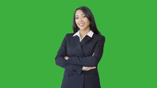 young attractive african american women on green-screen. business sales person