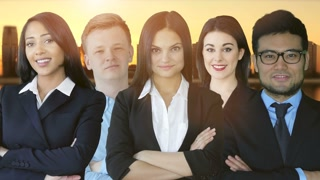 young diverse business people standing together. portrait of multi ethnic team