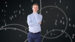 young man looking at data stream cloud thinking about future network