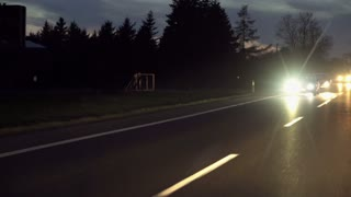Car riding at night on the road, steadycam shot