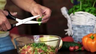 Closeup of woman cutting fresh herbs into vegetable salad