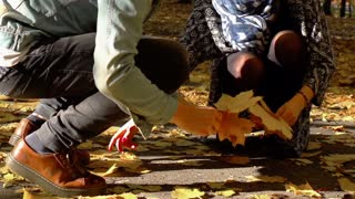 Couple gathering maple leaves in the park, slow motion shot