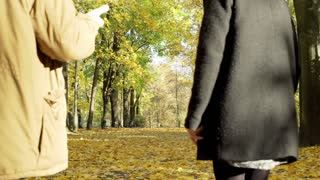 Couple quarreling while walking in the autumnal park