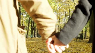 Couple walking in the autumnal park and holding each other hands