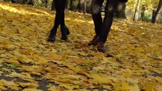 Couple walking on the ground full of leaves, slow motion shot
