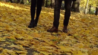 Couple walking on the ground full of leaves,  steadycam shot, slow motion shot a