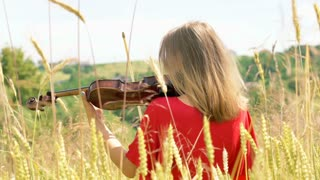Girl in red shirt playing on violin while standing in the grain field