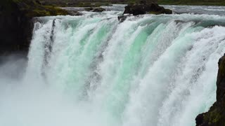 Godafoss: one of the most spectacular waterfall on Iceland, slow motion shot at