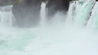 Godafoss: one of the most spectacular waterfall on Iceland, steadycam, slow moti