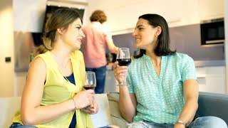 Happy women drinking wine and chatting with each other, steadycam shot