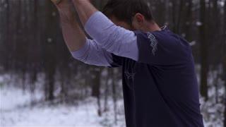 Lumberjack strong man chopping timber axe