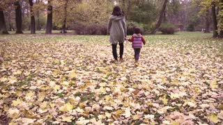Mother with son holding hands in the park, steadycam shot, slow motion  240fps