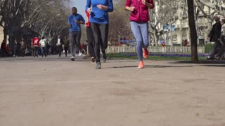 People jogging in park, slow motion shot at 240fps, steadycam shot