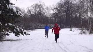 Runners while training in a wintry wood, slow motion shot at 240fps, crane shot