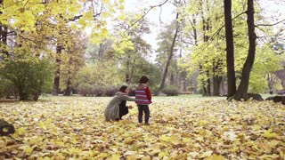 Son and mother playing in the park, steadycam shot, slow motion shot