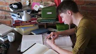 Student having problems with studying and destroying notes
