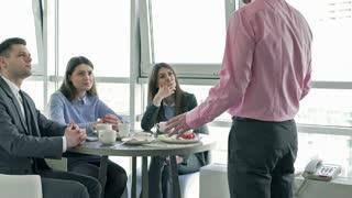 Upset businesspeople listening their boss