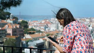 Woman looks worried while checking direction on smartphone, steadycam shot