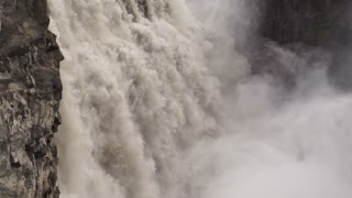 Waterfall, close view, slow motion shot at 60fps, steadycam
