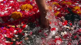 Woman checking water in the bath full of flowers, slow motion shot at 240fps