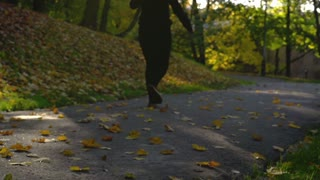 Woman walking on path in the autumnal park, steadycam shot, slow motion shot at