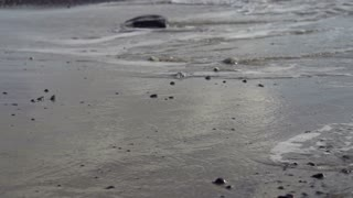 Young man jogging on the beach, slow motion shot at 60fps