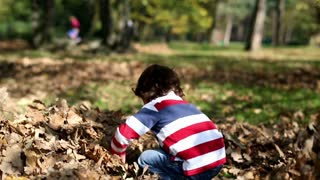 Young mother playing with her son in autumn park, steadycam shot