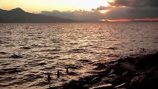Beautiful romantic sunset landscape