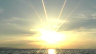 Beautiful sunset and sun beams