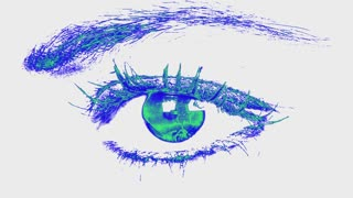Beautiful  Woman Eye with smooth blue green white effect