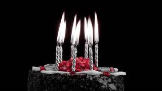 Birthday cake and candles- black & white