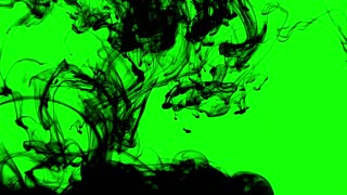 Black Ink Smoke on Green