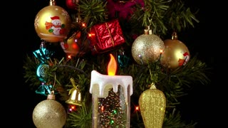 Candle lamp and christmas tree