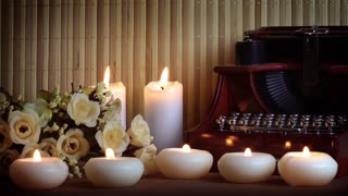 Candles and Flowers and Typewriter
