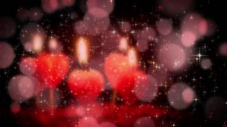 Celebration background with heart candles and glittering lights