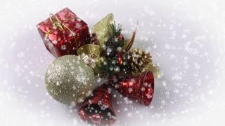 Christmas bells and ornaments and snowfall