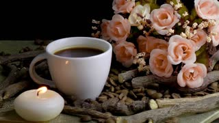 Coffee and Candle with Flowers