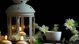 Coffee and Candles with Flowers