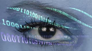 Futuristic Woman Eye and Binary Codes