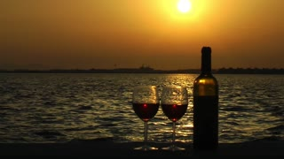 Glasses of  Wine at Romantic Sunset