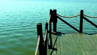 Green wooden pier and sea