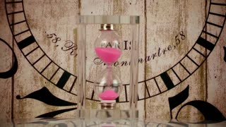Hourglass and wooden clock