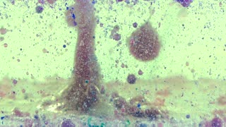 Moving colored oil and bubbles in water