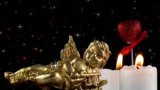 Mythological Angel  Figurine with Candles and Red Heart under Glittering Stars
