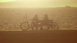 People at  Foggy Seaside with Bikes
