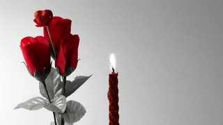 Red Roses-Red Heart  & Red Candle-