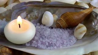 Seashells and Beauty Salt with Candle