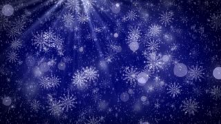 Snowflakes,light rays and bokeh lihgts on blue background