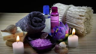 Spa Concept-Spa Treatment with towel,soap,beauty salt,oil and candles.