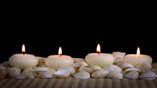 Spa Concept with Seashells and Candles